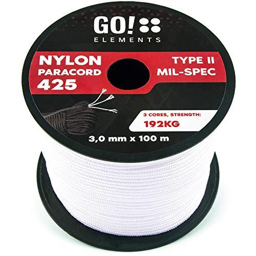 GO!elements 100m Cuerda Paracord de Nylon Resistente al desgarro - 3mm Paracord 425...