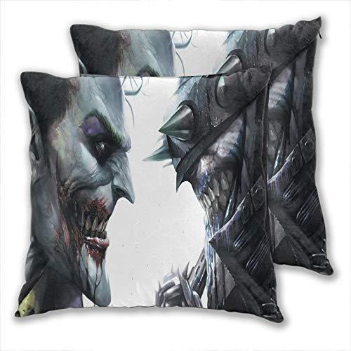 Fundas de cojín con diseño de Joker y Batman Who Laughs Home de poliéster suave cuadrado para sofá, cama, coche, cafetería, fiesta, 50 x 50 cm, 2 unidades