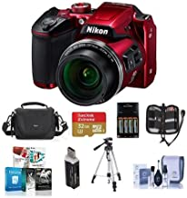 Nikon Coolpix B500 Digital Point & Shoot Camera, Red - Bundle With Camera Bag, 4 AA Rechargeable Batteries With charger, 32GB Class 10 SDHC Card, Cleaning Kit, Tripod, Software Package, And More