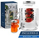 2 gallon glass drink dispenser with 2 mason jars and stainless steel spigot and fruit infuser beverage dispenser drink dispenser for parties drink dispenser with spigot