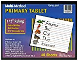 Top Flight Multi-Method 3rd Grade Primary Tablet, 1/2 Inch Ruling, Bond Paper, 11 x 8.5 Inches, 40 Sheets (56419), White