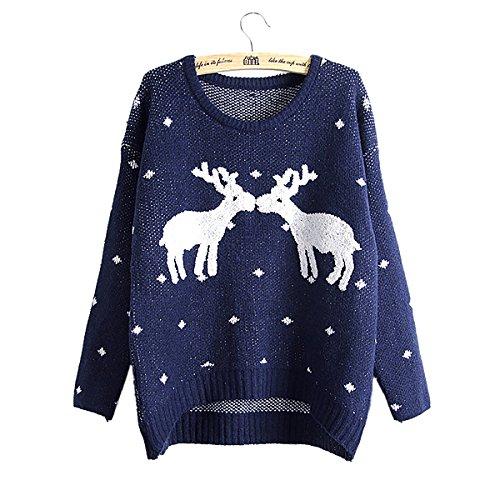 YF Vrouwen Kerst Jumper Pullover Sweater Lange Mouw Rendier Patroon Trui Top