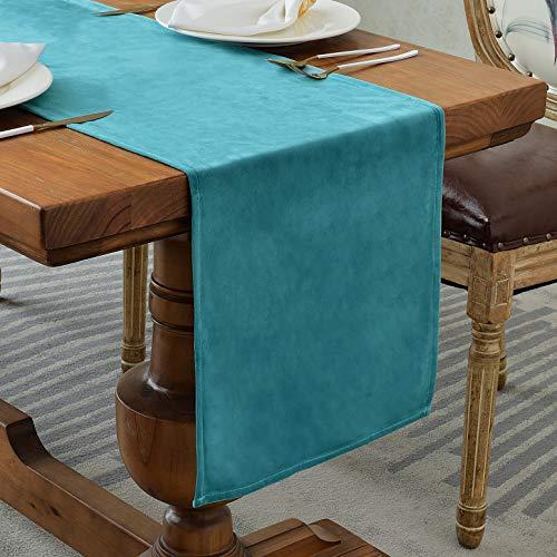 Balcony&Falcon Samt Tischläufer Modern Abwaschbar Tischläufer Tischdecke Elegante Heimtextilien für Den Innen- und Außenbereich Tischdekoration Tischläufer Wien (Velvetsblau, 35 x 240 cm)