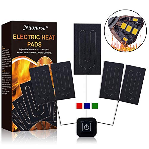 Electric Heating Pad, Cloth Heating Pad, Heat Pad Clothes, 5 in 1 Electric Cloths Heating Pads Set for Outdoor Winter Camping Night