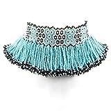 La Vivia turquesa azul perlas de semillas negro Non nativo cuentas collar de...