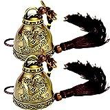 Maskottchen Glocke Segnen Glocken Quaste Glocken Buddhistische Deko Dekoration Fengshui Glocke Bronze Glocken Chinesische Glocke Antike Innen Glocke Garten Metall Vintage Glocke Retro Windspiele(2pcs)