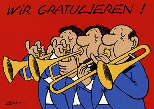 Postkarte A6 • 090 ''Trompeten'' von Inkognito • Künstler: Loriot • Geburtstag