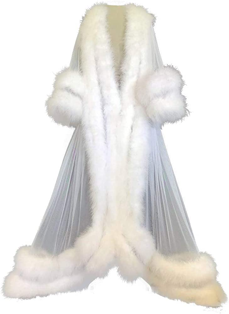 BathGown Sexy Feather Max 80% OFF Bridal Robe Nightgown Lingerie Long Satin Challenge the lowest price of Japan