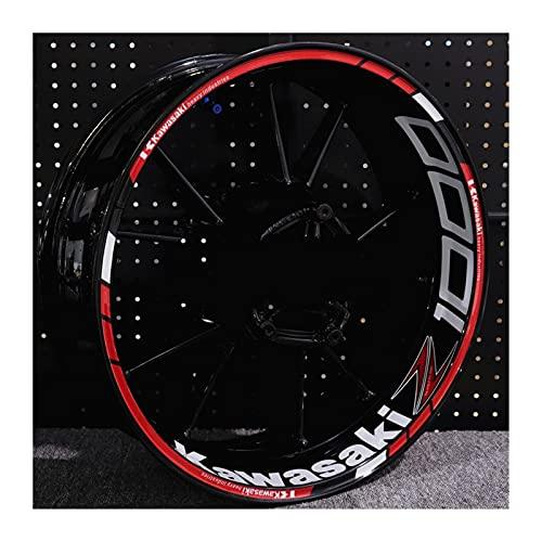 Decal de rayas de llanta de rueda Etiqueta engomada del cubo de la rueda de la motocicleta para Kawasaki Z400 Z650 Z250 Rueda reflectante a prueba de agua de Z250 Pegatinas de rueda trasera Raya de la