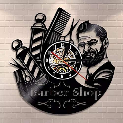 Reloj de Pared con Letrero de barbería, Poste de barberos, Reloj de Pared con Registro de Vinilo, peluquería, Estilista, Herramientas para el Cabello, Tijeras, peluquería, Regalo de Arte