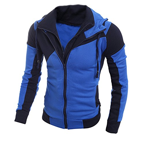 Review FiMi Mens Casual Slim Fit Hoodie Active Double Zip-up Jackets with Pockets Coat Outwear Blue