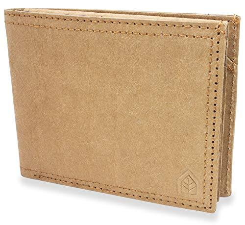 JOELWALLETS | Edition Blanche, handgefertigte Geldbörse aus robustem Kraftpapier, Kleiner und Leichter Geldbeutel, Doppelnaht, NFC- und RFID Schutz [Beige]