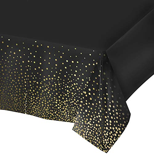 Plastic Black Tablecloth - 4 Pack - Disposable Black Tablecloths, Black Table Cloth, Black and Gold Dot Confetti Rectangular Table Covers, Great Table Cloths for Parties, Bridal Shower and Picnics