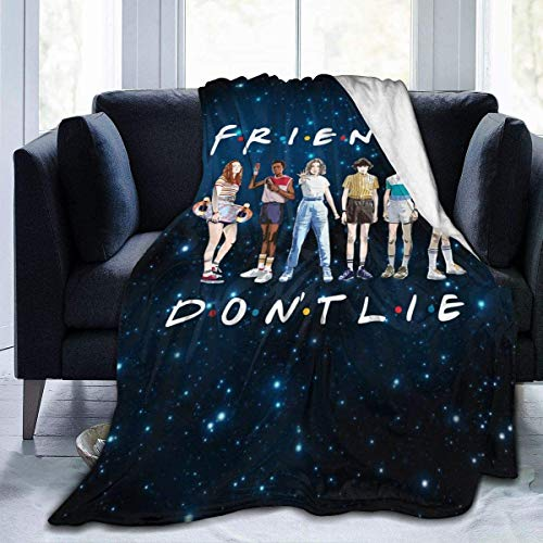 KINGAM Friends Don\'t Lie Hawkins Stranger Things Micro-Fleece-Decke, Überwurf, superweich, flauschig, leicht, hypoallergen, Plüsch, Bett, Couch, Wohnzimmer