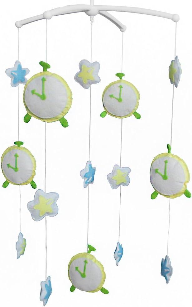 Handmade Yellow White 4 Max 68% OFF years warranty Clock Baby Room Crib Nursery Mobile Decor