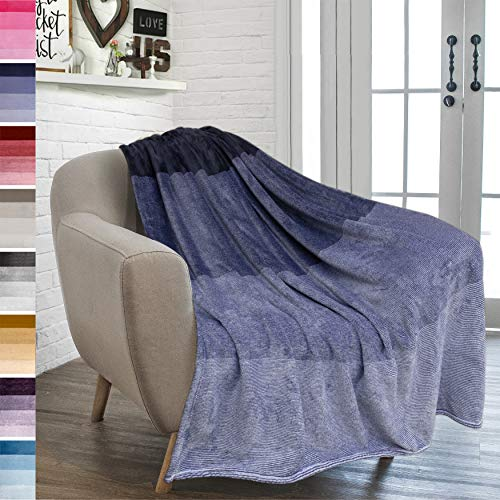 PAVILIA Flannel Fleece Ombre Throw Blanket for Couch | Soft Cozy Microfiber Couch Gradient Accent Blanket | Warm Lightweight Blanket for Sofa Chair Bed | All Season 50x60 Inches Indigo Blue