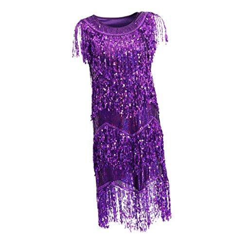 Sharplace Klassiker 20er Latein Tanz Kleider Turnierkleid Minikleid Party Cocktailkleid Mini Kleider Fransenkleid Tanzkleid Abendkleid - Lila, L