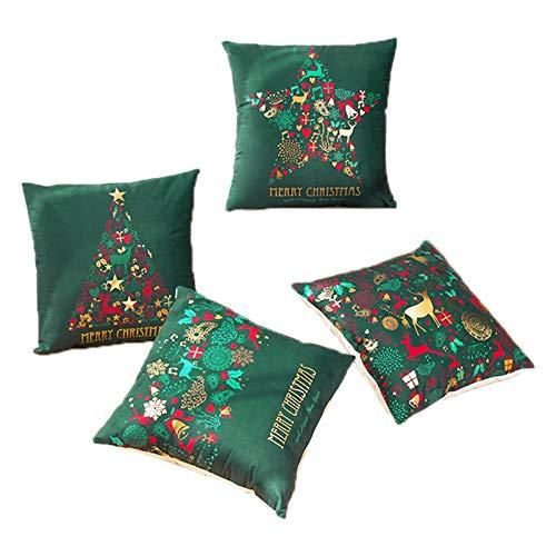 Kirmax Funda de CojíN de Regalo de Feliz Navidad Brillante, Funda de Almohada Decorativa para Asiento de Sofá para el Hogar, Funda de Almohada para Nieve, 4 Piezas