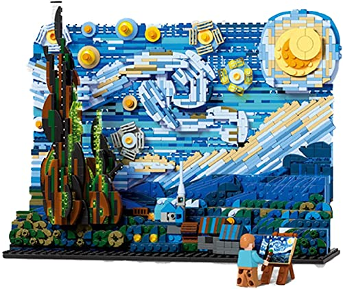 Mundo Pintura Famosa Van Gogh Starry Night Pixel Masterpiece Block Block Pixel Art Set Ladrillos DIY Juguetes Regalos Decorativos (1830Pcs)
