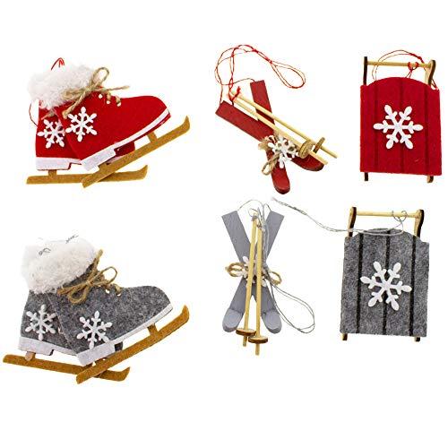Annastore 8 x Baumschmuck aus Holz zum Hängen - Schlittschuhe - Schlitten - Ski ca. 7 cm zum Hängen - Weihnachtshänger - Christbaumschmuck - Holzhänger...
