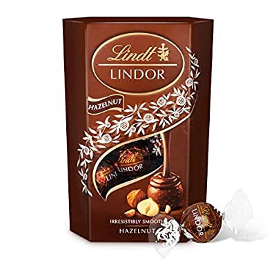 lindt lindor hazelnut chocolate truffles box - approximately 16 balls, 200 g - the ideal gift - chocolate balls with a smooth melting filling Lindt Lindor Hazelnut Truffles, 200g 51IED22HWlL