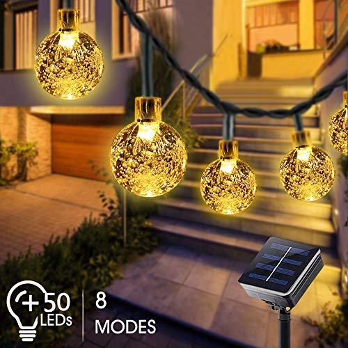 Guirnaldas Luces Exterior Solar, Bosunnny Cadena de Bola Cristal Luz para Exterior, 7M 50 LED, Guirnalda Luminosa Impermeable, Luces Decoración para Jardín, Casa, Bodas (Blanco Cálido)