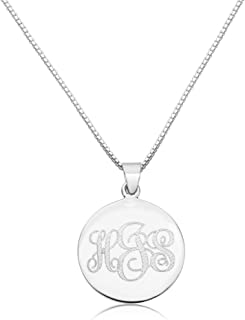 Sterling Silver Women's Personalized Pendant 24mm Three Initial Monogram Engraved Necklace