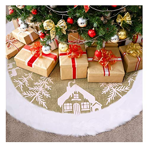 IMIKEYA Weihnachtsbaum Decke, 122 cm Weiße Plüsch Weihnachtsbaum Rock Weihnachtsbaumdecke Rund Luxus Fell Christbaumdecke Christbaumständer Teppich Baumdecke Weihnachtsbaum Deko,Christmas Tree Skirt