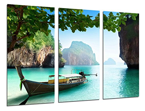 Cuadros Camara Cuadro Fotografico Paisaje Barca en la Playa, Paraiso Tropical, Multicolor, 97 x 62 cm XXL