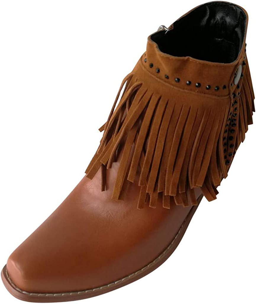 LATINDAY Women Boots Fringed Pointed Toe Boot wholesale R Heel Thick Short Popular overseas