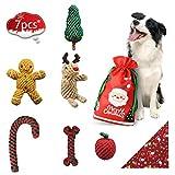 bellabailey Welpenkauspielzeug Weihnachtsset (7er Pack) - 6 Seile und 1 Hundebandana Weihnachten an Hunde/Welpe