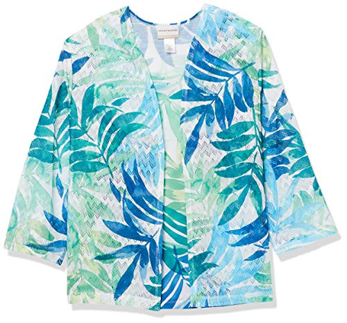 Alfred Dunner Women's Watercolor Leaf Two for ONE, Green/Navy, S