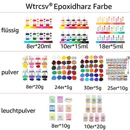 Wtrcsv Epoxidharz Farbe 120g(24er×5g), Seifenfarbe Set, Metallic Farben Pigment, Mica Pulver Pigmentpulver Farbpigmente für Epoxidharz Epoxy Resin Harz, 24 Farbe(Blau Schwarz Gold Lila.)