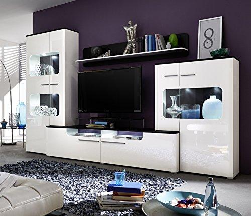trendteam LU00202 Wohnwand Wohnzimmerschrank Weiss Hochglanz, Absetzungen schwarz, BxHxT 310 x 198 x 47 cm - 2