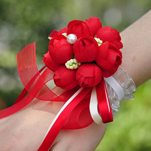 SimpleLife pols corsage armband voor bruiloft meisjes bruidsmeisje, lint armband bruiloft Prom Pack van 2