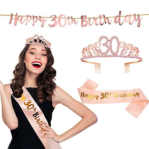 Skylety Rosa Gold Elegant 30. Geburtstag Happy Schärpe 30th Birthday Rosa Diamant Krone und 30. Geburtstag Banner Romantisch Geschenk an Frau Frau Freundin Freund Geburtstagsfeier