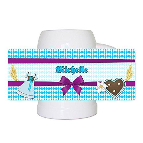 Bierkrug mit Namen Michelle und schönem Motiv mit Rauten , Dirndl und Lebkuchen-Herz | Bier-Humpen | Bier-Seidel für Frauen