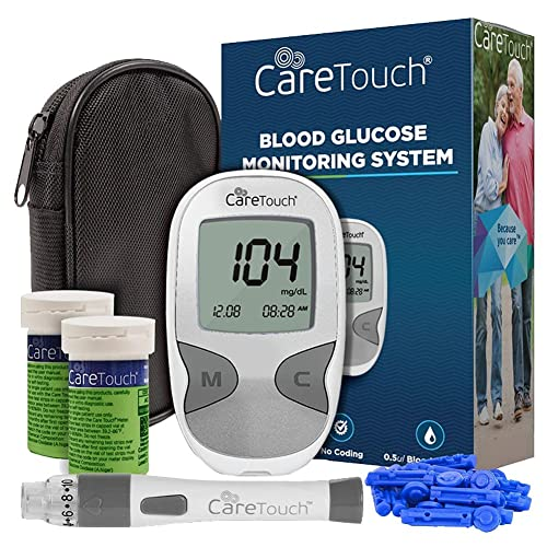 Care Touch Diabetes Testing Kit – Care Touch Blood Glucose Meter, 100 Blood Test Strips, 1 Lancing Device, 30 gauge Lancets - 100 count and Carrying Case