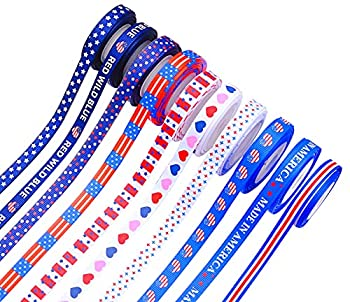 10 Rolls 50 Yards Patriotic Ribbon Red White Blue Grosgrain Ribbon for Independence Day Memorial Day President s Day Decoration 3/8Inchx5Yards