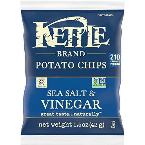 Kettle Brand Potato Chips, Sea Salt and Vinegar, Single-Serve 1.5 Ounce (Pack of 24)