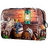Trousse de toilette portable pour femme - Pour pinceaux de maquillage - Organisateur de voyage - Cave, vin, raisin