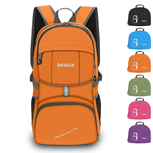 Bekahizar 35L Lightweight Rucksack, Soft Foldable Backpack, Upgraded to 4 Compartments Daypack for Travel Hiking Camping Cycling Outdoor Sports