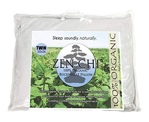 """ZEN CHI Almohada de Trigo sarraceno orgánico Doble tamaño w (20""""X 26"""") tecnología de enfriamiento Natural el algodón Cubierta de Trigo sarraceno orgánicos écales w"""