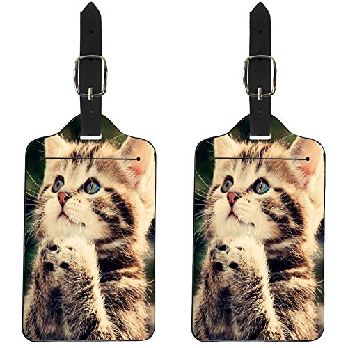 Nopersonality Kawaii Cat Pattern Luggage Tags, Pu Leather Case Label for Baggage/Suitcase/Travel Bag 2 Pieces Set