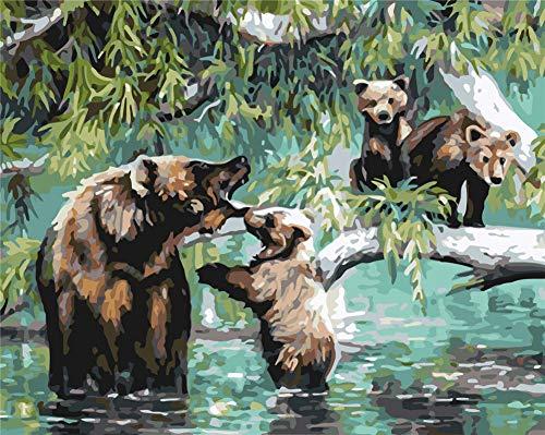 Gofission Paint by Numbers Bear Family Tree Water - Kit de pintura de números (40,6 x 50,8 cm, oso 1, con marco)