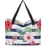 JANSBEN Große Strandtasche mit Reißverschluss Badetasche XXL Shopper Schultertasche Beach Bag fur Damen Herren (Flower)