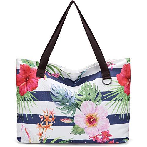 JANSBEN Bolsa de Playa Grande con Cremallera XXL Shopper Bolsa de Hombro Bolsos Totoes Bolso de Mano para Mujer Hombre (Flores)