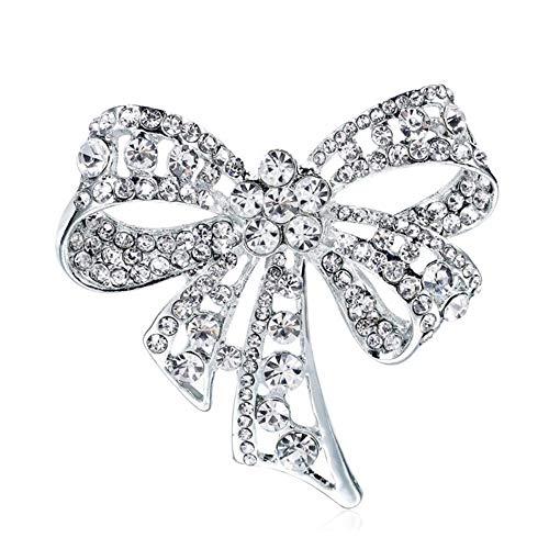 gotyou Diamant Brosche Strass Bogen Boutonniere,Vintage Bowknot Brosche für Frauen,Broschen Stirnband dekoriert,Damen Kleidung Modeschmuck,Persönlichkeitsschmuck Mantel-Zubehör