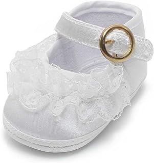 ed2ff0173b635 DELEBAO Chaussure Premier Pas Fille Blanc Chaussures de Bébé Baptême Semelle  Souple en Fleur de Dentelle