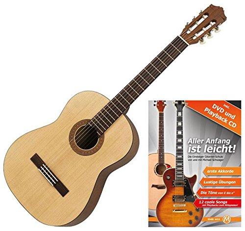 Yamaha C40M Konzertgitarre (ideal für Einsteiger, Decke aus Fichte, Boden und Zargen aus Meranti, Hals aus Nato, inklusive Gitarrenschule
